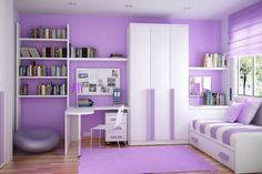 Beyaz ve lila rengi ile dekore edilen bu odanın romantik bir havası bulunmakta. Özellikle genç kızlar için son derece hoş bir dekorasyon ile karşı karşıyayız. Açılıp kapanabilen kanepe