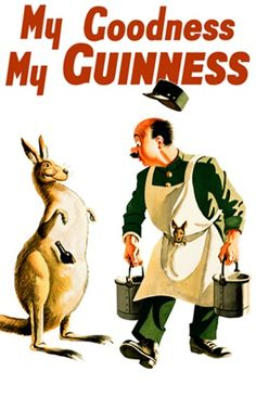 Guinness by Gilroy 1925 England -Beautiful Vintage Poster Reproductions. This English wine and spirits poster features a zoo keeper with a baby kangaroo in his apron and a kangaroo with a beer bottle in its pouch. Giclee Advertising Print. Classic Posters Guinness Advert, Pub Vintage, Vintage Labels, English Wine, English Posters, Guinness Draught, Beer Poster, Poster Ads, Premium Beer