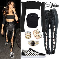 Find out where your favorite celebrities buy their clothes and how you can get their looks for less. Madison Beer Style, Madison Beer Outfits, Chic Outfits, Fashion Outfits, Womens Fashion, Black Outfits, Celebrity Outfits, Celebrity Style, Vans Outfit