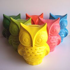 Ceramic Owl Bank Vintage Design Lemon Yellow