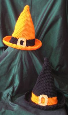 Halloween Witch Children's Hats. Halloween crochet #halloween #crochet ww.loveitsomuch.com