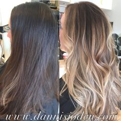 blonde balayage ombré and long layered haircut styled with beach waves! Hair by Danni in Denver, CO
