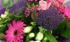 (Trachelium blue, pink gerbera, roses and alstromeria) Pink Gerbera, Roses, Seasons, Plants, Summer, Blue, Summer Time, Pink, Rose