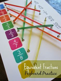 Relentlessly Fun, Deceptively Educational: Equivalent Fractions Pegboard Practice