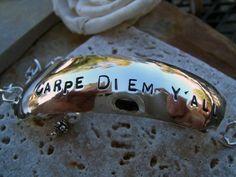 CARPE DIEM  Y ALL - Sterling Silver Demi Cuff - Hand Forged. $57.00, via Etsy.