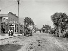 """Daytona Beach, Florida, circa 1906. """"Beach Street, with souvenir shops."""""""