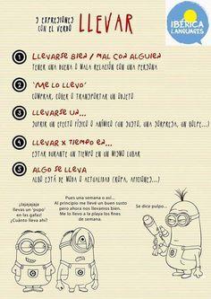"""Verbo """"llevar"""", diferentes usos, via http://ibericalanguages.com."""