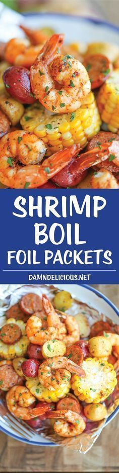 Shrimp Boil Foil Packets - Easy, make-ahead foil packets packed with shrimp, sausage, corn and potatoes. It's a full meal with zero clean-up! Grilling Recipes, Fish Recipes, Seafood Recipes, Dinner Recipes, Cooking Recipes, Healthy Recipes, Seafood Meals, Seafood Broil, Sausage Recipes