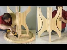 Round Table Easy To Do – Step By Step Woodworking Tutorial – Woodworks Wooden Pallet Furniture, Wooden Pallets, Diy Furniture, Cnc Wood Lathe, Woodworking Tutorials, Wood Table, Wood Art, Wood Crafts, Wood Projects
