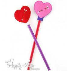 Heart Pencil Topper Embroidery Design