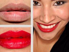 MAC Sheen Supreme Lipstick in New Temptation, a semi-opaque, bright cherry red