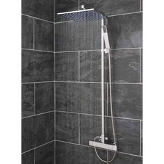 Thermostatic Shower Valve With Square Rigid Riser Rail, Handset and Square Slim-line Shower Head -