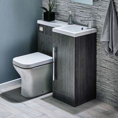 Ideas for Small Bathrooms Harbour Icon Spacesaving Combination Bathroom Toilet & Sink Vanity Unit - Avola Grey you can find similar pins below. Bathroom Sink Units, Space Saving Toilet, Small Toilet Room, Bathroom Toilets, Small Bathroom, Toilet Design, Toilet And Sink Unit, Bathroom Design, Downstairs Toilet