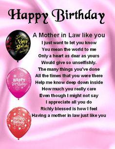 Fridge Magnet -  Mother in Law  Poem - Happy  Birthday  + FREE GIFT BOX