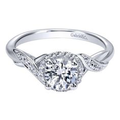 14K White Gold .90cttw Twisted Vintage Style Halo Round Diamond Engagement Ring from Mullen Jewelers