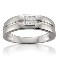 Montebello 14k Men's 1/4ct TDW Princess Diamond Band