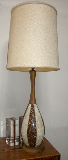 Items similar to mid century modern ceramic and wood atomic lamp on etsy