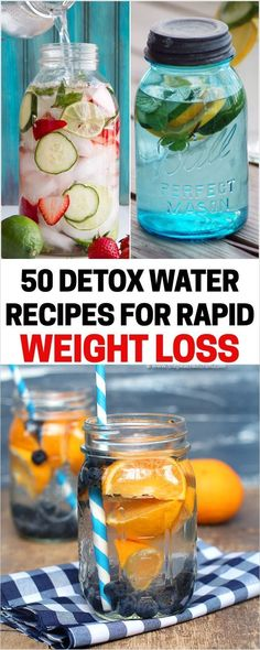 Top 50 Detox Water Recipes For Rapid Weight Loss Find more insightful tips and amazing weight loss recipes at www.slickweightloss.com