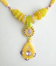 Rivoli Crystal Beadwoven Necklace Yellow Purple door SpringColors, $100.00