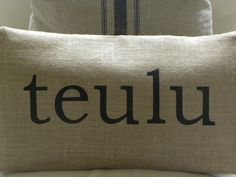 Items similar to Welsh teulu family burlap pillow hessian cushion cover on Etsy