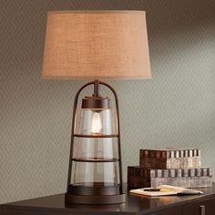 Industrial Lantern Table Lamp with Night Light - #2V218 | Lamps Plus
