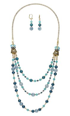 "Jewelry Design - Triple-Strand Necklace and Earring Set with Celestial Crystal® Beads, Czech Glass Beads and Antiqued Gold-Finished ""Pewter"" Cones - Fire Mountain Gems and Beads"
