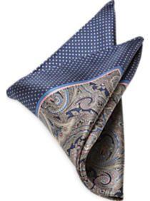 Joseph Abboud Navy & Blue Paisley Pocket Silk