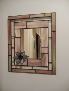 Stained glass mirror I made for my mom with flower fused flower. Perfect for the front hallway! Stained Glass Frames, Stained Glass Rose, Stained Glass Christmas, Stained Glass Designs, Stained Glass Projects, Stained Glass Patterns, Leaded Glass, Glass Mirrors, Mirror Mosaic