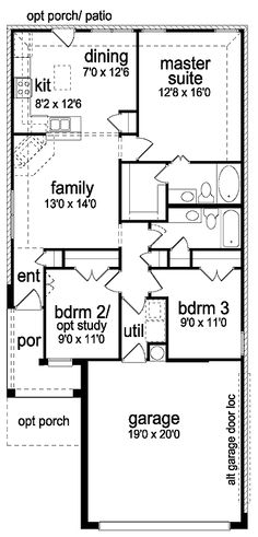 Floor Plans AFLFPW19957 - 1 Story Ranch Home with 3 Bedrooms, 2 Bathrooms and 1,163 total Square Feet