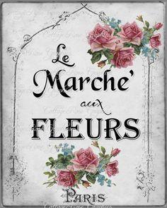 Le Marche aux Fleurs LARGE format digital by CottageRoseGraphics, $3.75