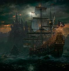 Pirate Sailing Ship near Castle gaming games images pictures screenshot GameScapes GamingShot concept digital art VistaLore daily pics beauty imagination Fantasy Pirate Art, Pirate Life, Pirate Ships, Pirate Crafts, Pirate Queen, Fantasy World, Fantasy Art, Fantasy Romance, Fantasy Dragon
