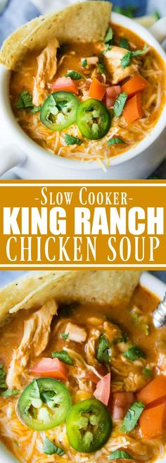Slow Cooker King Ranch Chicken Soup. This EASY creamy soup tastes just like the beloved King Ranch Chicken Casserole. Loaded with cheese, juicy chunks of chicken, and tons of flavor! Simply load up the slow cooker and let this soup simmer during the day. Everyone will be waiting with bowls in hand to enjoy this one!! Hey y'all!! I know you are waiting with your spoons to check out this recipe! King Ranch Chicken Soup?!? Whaaaat! King Ranch Casserole is a pretty popular Texas recipe...