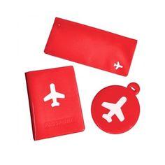 Kit Viagem Vermelho (Porta-Passaporte, Carteira de Viagem e Etiqueta de Mala) - Presentes Criativos - MariaPresenteira