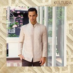 Look debonair in this piñasilk barong fit like a coat.A fusion of traditional embroidery and modern tailoring this barong is perfect for formal occasions. Beach Formal Attire, Formal Wedding Attire, Rustic Wedding Dresses, Wedding Suits, Wedding Ideas, Wedding Prep, Formal Gowns, Wedding Details, Wedding Stuff