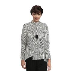 """IC Collection Asymmetrical Jacket - """"Geo Quiz"""" in White and Black - 6981J"""