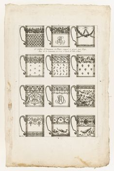 Designs for Chocolate Cups, Print, Plate 1 from Cahier d'Ornemens et Fleurs, Designed by Jean-Baptiste Fay. E Design, Print Design, Graphic Design, Design Theory, Jean Baptiste, Chocolate Cups, Tea Art, China Painting, Ceramic Design