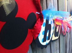 MICKEY MOUSE Happy Birthday banner in Red by BurleyGirlDesigns, $30.00