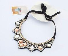 Multicolor Crystal Flower Statement Choker Necklace Women