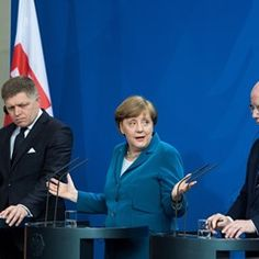 Angela Merkel delivers remarks at the Federal Chancellery on Czech Republic mutual relations