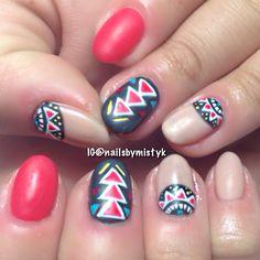 Tribal nail art. Shellac nail art. Gelish matte topcoat.
