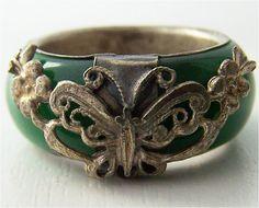 jade  rings silver | Green Jade Ring - Rare Asian Handmade Jewelry Silver Green Jade Carved ...