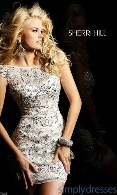 Short Open Back Beaded Dress - Like the beading pattern