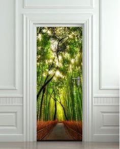 "Wall Door LAMINATED STICKER bamboo, forest, road, way, passageway, poster, mural, decole, film 30x79"" (77x200 Cm)"
