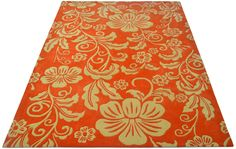 """A custom hand tufted pure New Zealand wool rug in salmon orange and brocade white . It has a pile depth of 12-14mm. Created using the """"Otley"""" design. #CustomRugRoom"""