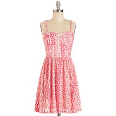ModCloth Mid-length Spaghetti Straps A-line Bonita Vacation Dress (1.160 RUB) ❤ liked on Polyvore featuring dresses, modcloth, apparel, fashion dress, varies, red sundress, red fit and flare dress, fit and flare dress, sundress dresses and summer sun dresses