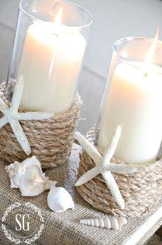 White beach house candles