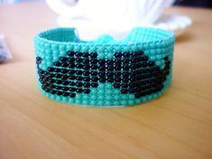 Bead Loom Moustache Bracelet in Turquoise and by TheCornerOfCraft, £10.00