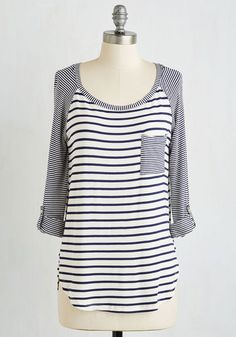 Downtime of My Life Top - Mid-length, Blue, White, Stripes, Pockets, Casual, Nautical, Americana, 3/4 Sleeve, Jersey, Knit, Good, Scoop