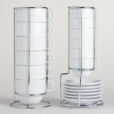 White Stacking Mugs or Espresso Cups - World Market