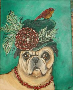 ORIGINAL  PAINTING ON CANVAS ART #PUG DOG FLOWER RED BIRD WHIMSY ANIMALS GINA  #Whimsical
